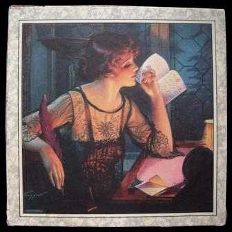 Signed Gene Tressler Art Deco Handkerchief Box incl. Handerchiefs