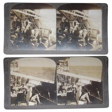 Pair 1911 Stereoviews  Closeup of Passengers on Deck of SS Bluecher