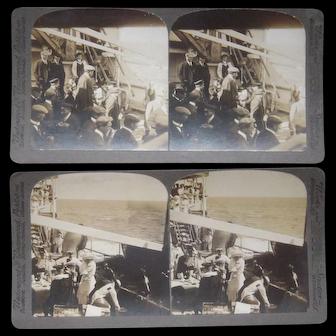 Pair 1911 Stereoviews  Closeup of Passengers on Deck of SS Bluecher