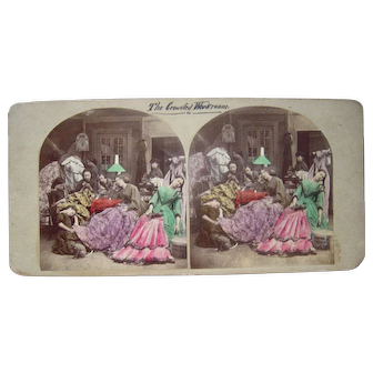 c1860s  Hand Tinted Stereoview of Young Ladies, incl Cat