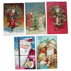 Lot 5 Santa Postcards c1910
