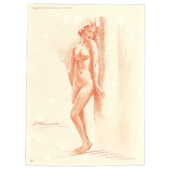 S/N Suzanne Meunier Nude Lithograph from 1937