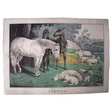"Mid 1800s Hand Colored Lithograph ""Summer"" w/ Horses and Sheep"