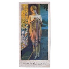 1920s/1930s Art Deco Advertising Stand Up Display for Star Brand Shoes w/Flapper Girl