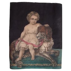 Large 1850s/1860s Hand Colored Lithograph of Child and Dog