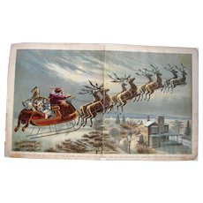 Large 1896 Color Lithograph Santa Claus w/His 8 Reindeer Delivering Presents