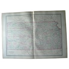 Large 1889 Hand Colored Map of Kansas