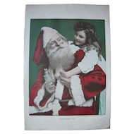 1904 Color Print of Santa Claus w/Little Girl