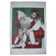 1904 Color Print of Santa Claus w/Little Girl