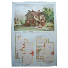 1886 Color Architectural Lithograph of Victorian Home Exterior and Floorplan