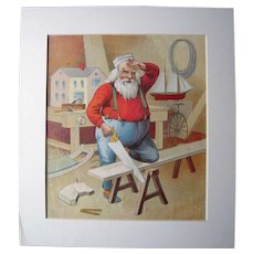 c1890s Color Santa Lithograph from Children's Book #5 (2 copies available)