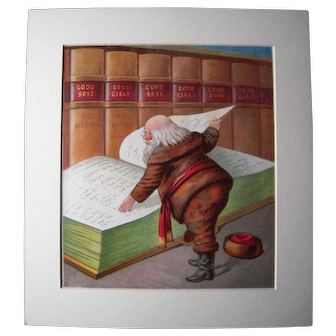 c1890s Color Santa Lithograph from Children's Book #4 (2 copies available)