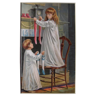 1896 Color Lithograph from Night Before Christmas Children's Book #11