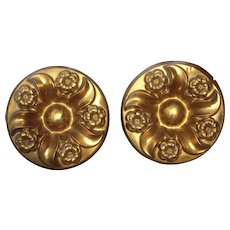 Pair Large Ornate Victorian Era Brass Curtain Tiebacks