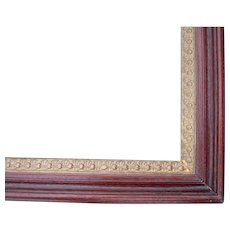 """Victorian Deep Walnut Picture Frame w/Ornate Gold Liner 15"""" x 18"""""""