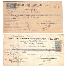 Pair c1918 American Express Receipts for Money Cabled to the US from Paris, France (w/revenue stamps)