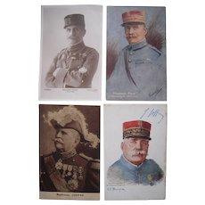 Lot 4 WWI Postcards of Marshal Foch General Joffre
