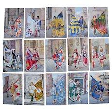 """Lot 15 Italian Pages Postcards """"17 Pagii delle storiche Contrade di Siena"""" c1910s/c1920s"""