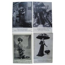 Lot 4 1908 Comic Merry Widow Postcards