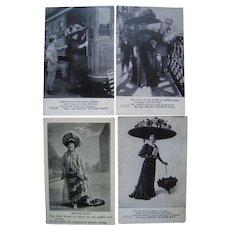 Lot 4 1908 Comic Merry Widow Postcards