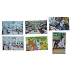 Lot 6 Barber Shop Postcards c1910s-c1950s