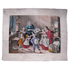 """1866 Hand Colored Currier and Ives Lithograph """"Training Day"""""""