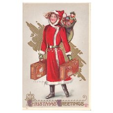 Lady Santa Postcard A/S R. Ford Harper 1913