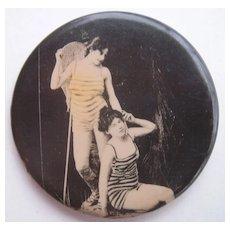 c1910s Pocket Mirror Two Bathing Beauties