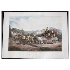 """Large 1842 Hand Colored Aquatint """"Changing Horses"""" from Fores's Coaching Recollections"""