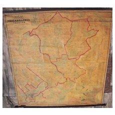 1860 Wall Map of Vicinity of Philadelphia PA & Trenton NJ