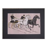 Large 1903 Color Horse Racing Print