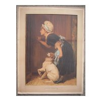Large Victorian Color Lithograph Mother Hubbard