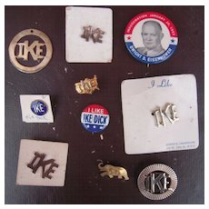 Lot 10 Vintage Dwight Eisenhower Presidential Campaign Buttons