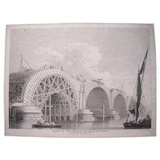 1766 Engraving Construction of Bridge at Blackfriars, London England