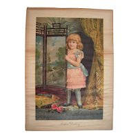 Large c1890 Color Lithograph of Little Girl (Advertising Premium)