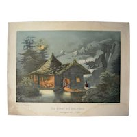 c1870s Color Lithograph A Evening on the Alps