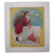 c1890s Santa on Chimney Color Lithograph #1
