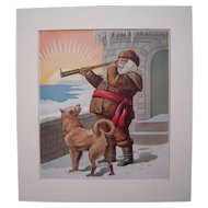 c1890s Santa with Telescope & Dog Color Lithograph #2