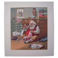 c1890s Santa Repairing Toys Color Lithograph #3
