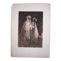 1883 Etching His Own Doctor by Thomas Waterman Wood