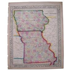 1861 Hand Colored Map Iowa, Missouri