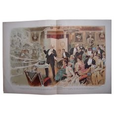 1886 Color Lithograph of Christmas Party from Pucks