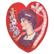Large 1907 Valentines & Playing Card Heart
