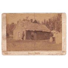 c1870s Cabinet Card Photo Sod House Nebraska