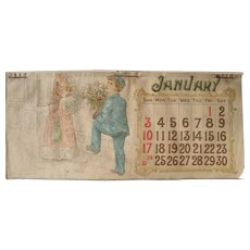 Large Color 1892 Calendar Pad w/Children
