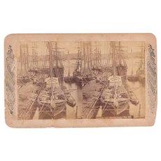 c1880 Stereoview Shipping Scene w/unfinished Brooklyn Bridge, New York City