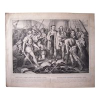 Large Mid 1800s Lithograph Christopher Columbus
