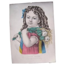 Hand Colored Currier & Ives Lithograph Little Daisy