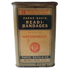 c1930s Parke Davis Bandage Advertising Tin