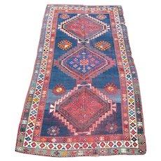 c1900 Caucasian Kazak Rug 4' x 8'